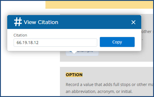 Citation Number dialog box