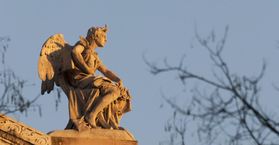 Statue atop the National Library of Spain