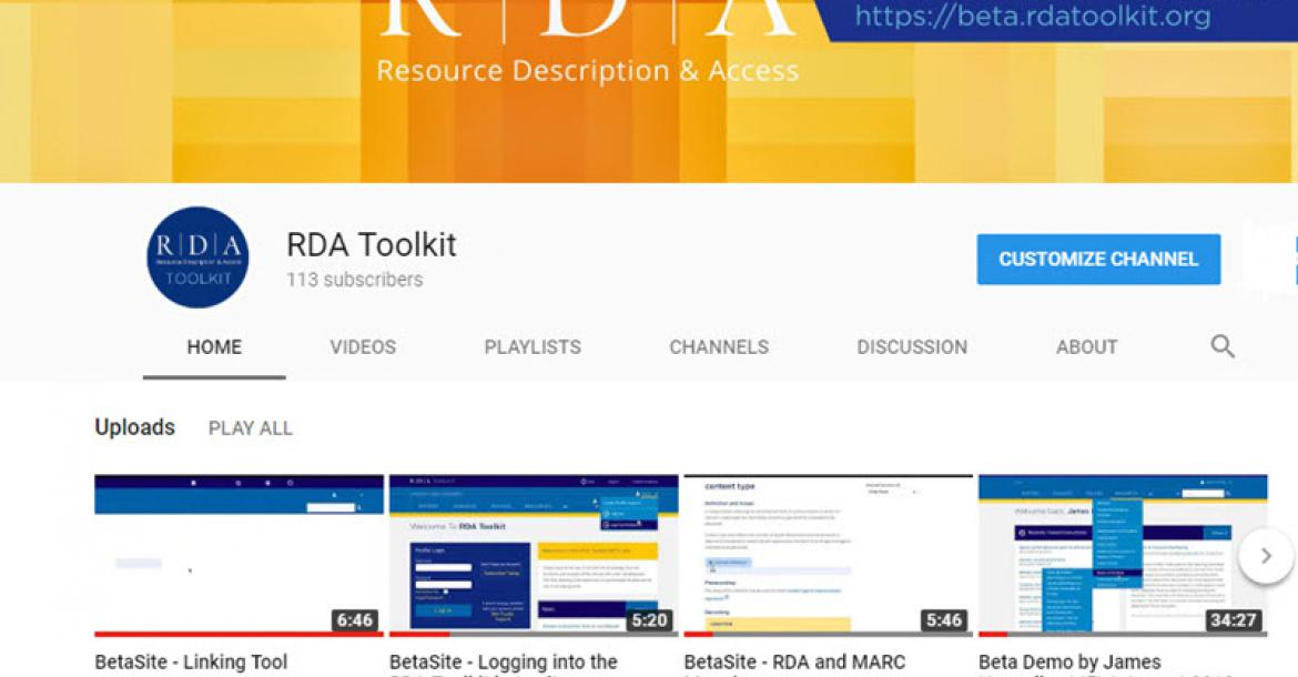 RDA Toolkit You Tube channel