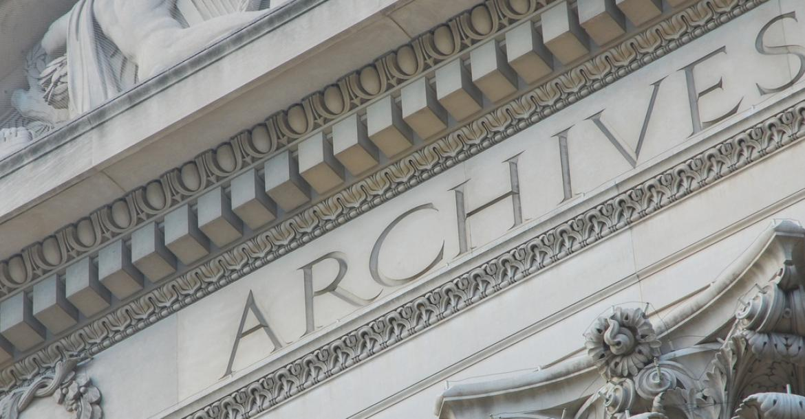 Part of the facade of the U.S. National Archive building